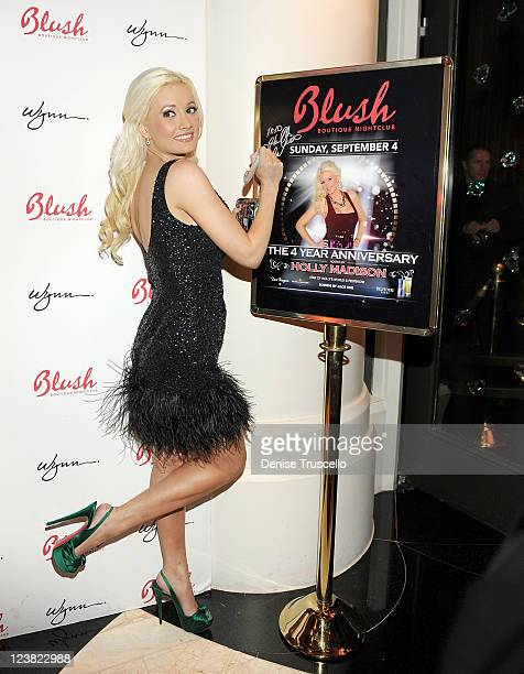 Holly Madison arrives at the 4th anniversary celebration of Blush Boutique Nightclub at Wynn Las Vegas on September 4 2011 in Las Vegas Nevada