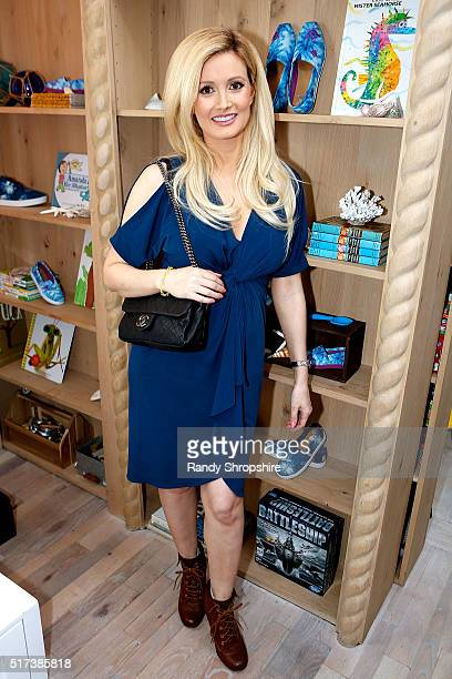 Holly Madison attends the partnership celebration between TOMS and Oceana to help save the sea turtles on March 24 2016 at Au Fudge in West Hollywood...
