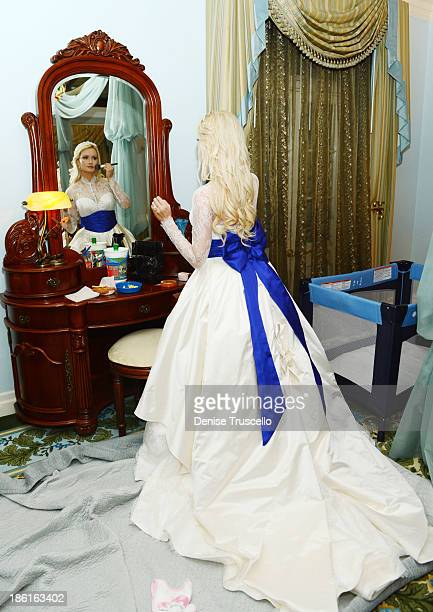 Holly Madison gets ready for her wedding at Disneyland on September 10 2013 in Anaheim California