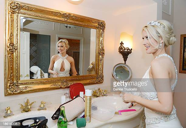 Holly Madison gets ready for her wedding reception at Disneyland on September 10 2013 in Anaheim California
