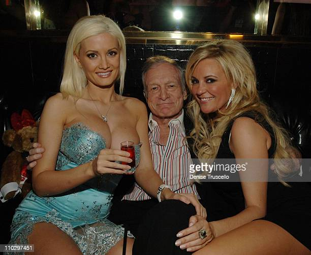 Holly Madison Hugh Hefner and Bridget Marquardt during Hugh Hefner's 81st Birthday Weekend Birthday Party at The Playboy Club at The Palms Hotel and...