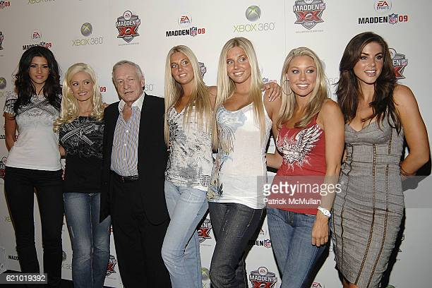 Holly Madison Hugh Hefner and Playboy Bunnies attend EA Sports Premiere Party for Madden NFL 09 at STK on August 7 2008 in Los Angeles CA