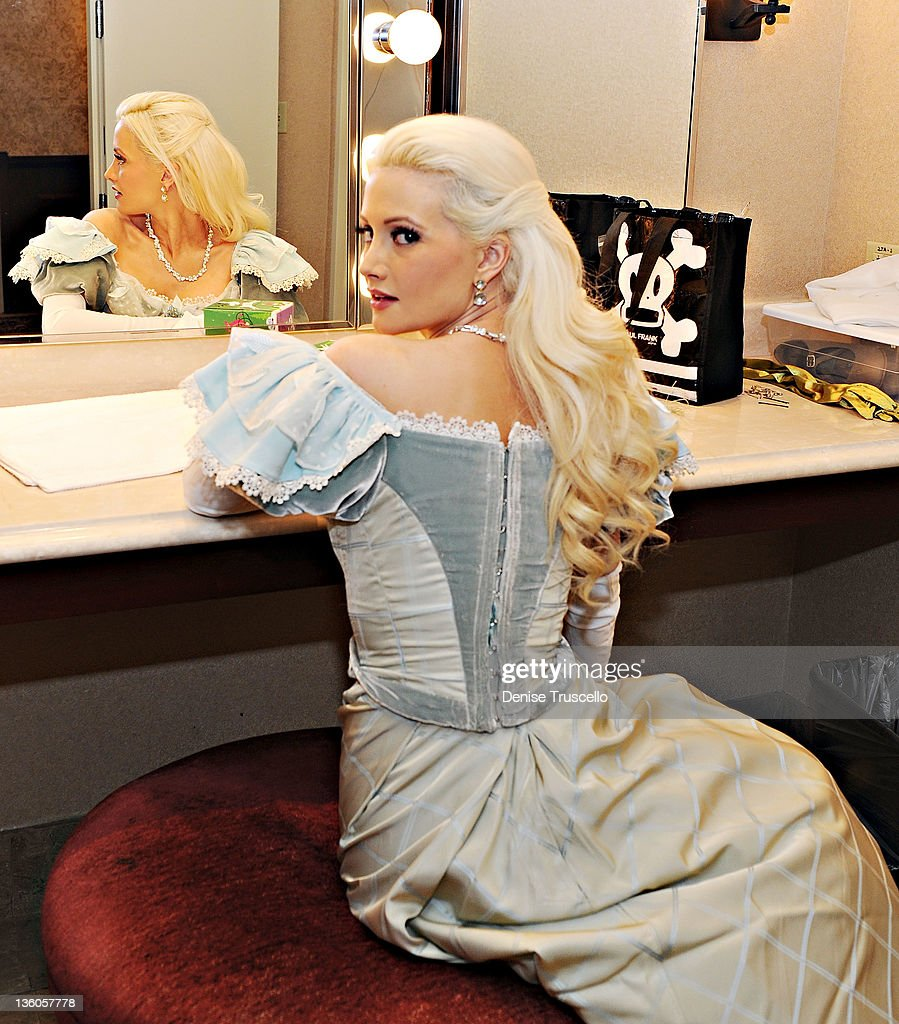 Holly Madison looks on backstage before her appearance in Nevada Ballet Theatre's The Nutcracker performance at Paris Las Vegas on December 17, 2011 in Las Vegas, Nevada.