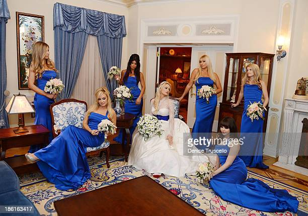 Holly Madisons bridesmaids Ashley Matthau Bridget Marquardt Laura Croft Tanya Popovich Claire Sinclair and Stephanie Cullen pose for photos with...