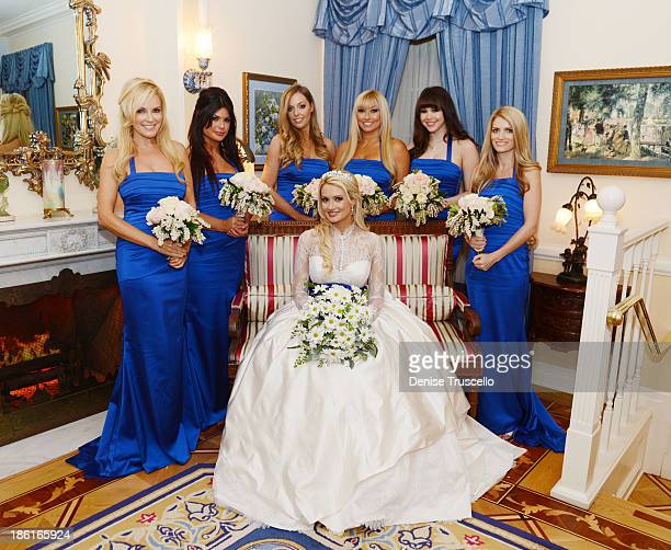 Holly Madisons bridesmaids Bridget Marquardt Laura Croft Ashley Matthau Tanya Popovich Claire Sinclair and Stephanie Cullen pose for photos with...