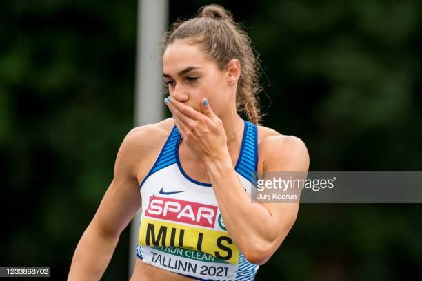 Holly Mills from United Kingdom reacting during Women's Heptathlon High Jump during 2021 European Athletics U23 Championships - Day 1 at Kadriorg...