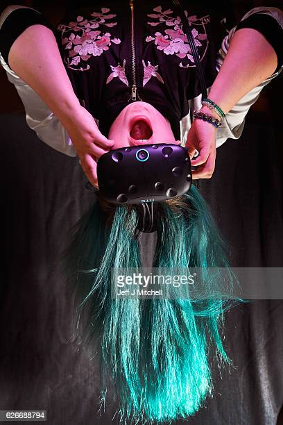 Holly Morton out gaming headsets at Scotlands First Virtual Reality Arcade on November 30, 2016 in Edinburgh, Scotland. Using cutting edge HTC Vive...