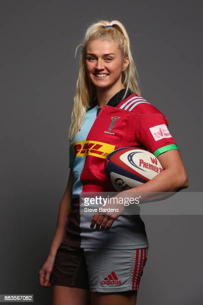 Holly Myers poses for a portrait during the Harlequins Ladies Squad Photo call for the 2017/18 Tyrrells Premier 15s Season at Surrey Sports Park on...