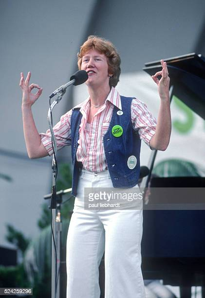 Holly Near, a feminist, gay rights activist famous for singing lesbian love songs, perfoms at the Survival Sunday celebration on May 21, 1978 at the...