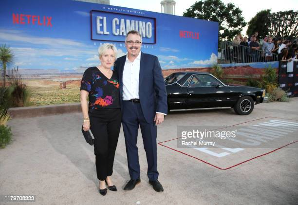 Holly Rice and Vince Gilligan attend the World Premiere of El Camino A Breaking Bad Movie at the Regency Village on October 07 2019 in Los Angeles...
