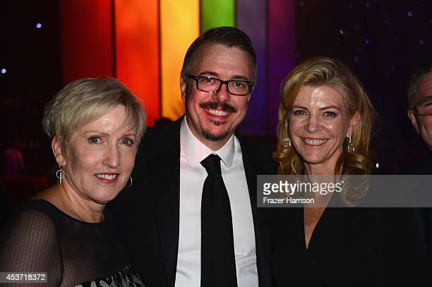 Holly Rice producer Vince Gilligan and guest attend the Governors Ball during the 2014 Creative Arts Emmy Awards at Nokia Theatre LA Live on August...
