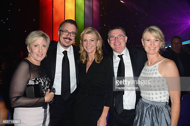 Holly Rice producer Vince Gilligan and guests attend the Governors Ball during the 2014 Creative Arts Emmy Awards at Nokia Theatre LA Live on August...