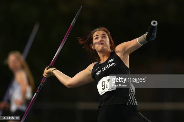 Holly Robinson of New Zealand competes in the women's javelin throw during the Jandakot Airport Perth Track Classic at WA Athletics Stadium on...