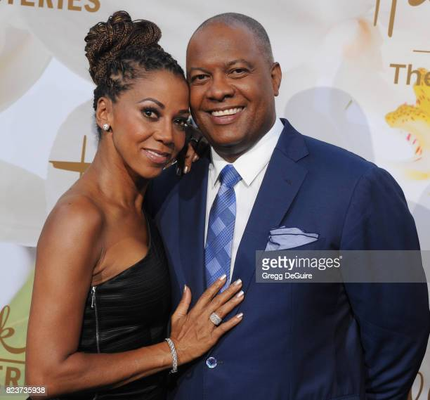 Holly Robinson Peete and Rodney Peete arrive at the 2017 Summer TCA Tour Hallmark Channel And Hallmark Movies And Mysteries at a private residence on...