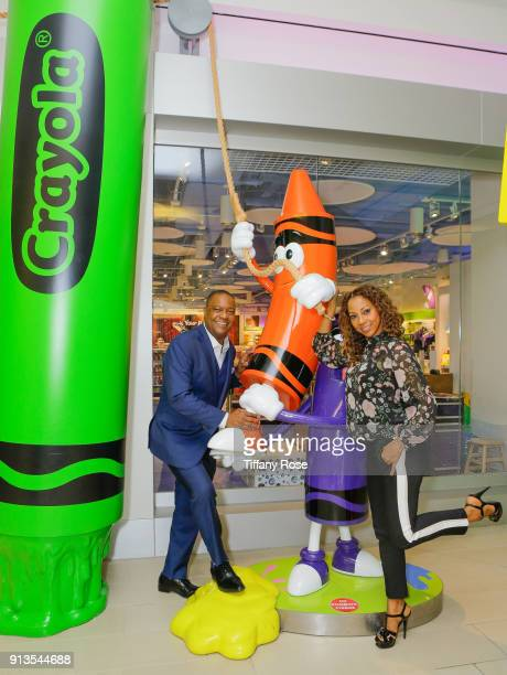 Holly Robinson Peete and Rodney Peete at the Crayola Experience during Super Bowl weekend at the Mall of America in Minneapolis Minnesota on February...