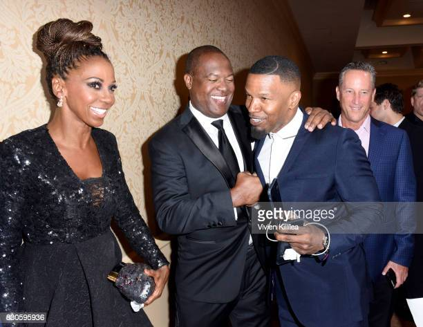 Holly Robinson Peete Rodney Peete and Jamie Foxx attends the 17th Annual Harold Carole Pump Foundation Gala at The Beverly Hilton Hotel on August 11...