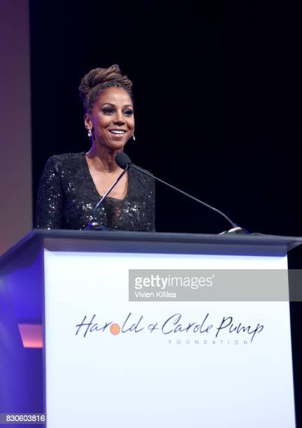 Holly Robinson Peete speaks onstage at the 17th Annual Harold Carole Pump Foundation Gala at The Beverly Hilton Hotel on August 11 2017 in Beverly...