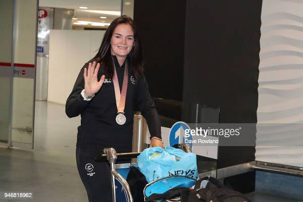 Holly Robinson silver medal for javelin F46 during the Welcome Home Function at Novotel on April 16 2018 in Auckland New Zealand