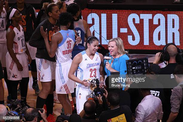 Holly Rowe of ESPN interviews Shoni Schimmel of the Eastern Conference AllStars after she was awarded the MVP trophy following the 2014 Boost Mobile...