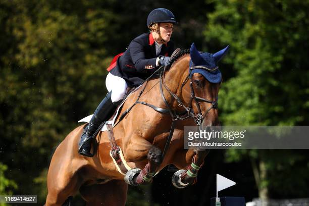 Holly Smith of Great Britain or Team GB riding Hearts Destiny competes during Day 3 of the Longines FEI Jumping European Championship speed...