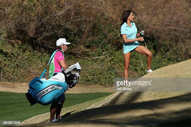 Holly Sonders assesses a shot on the 5th hole on the Jack Nicklaus Private Course at PGA West during the second round of the Humana Challenge in...