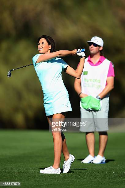 Holly Sonders hits a tee shot at the sixth hole of the Jack Nicklaus Private Course at PGA West during the second round of the Humana Challenge in...