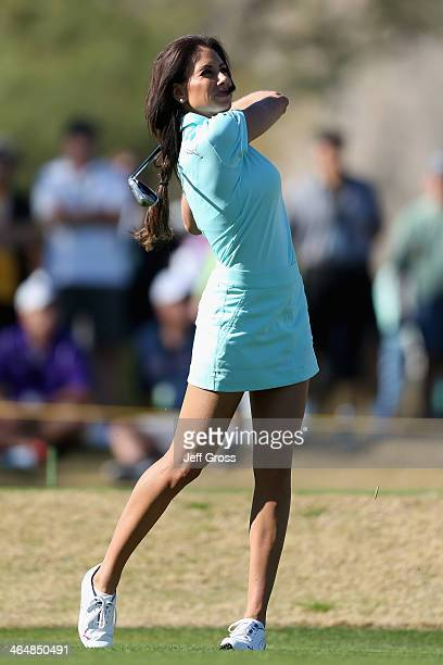 Holly Sonders hits a tee shot on the seventh hole of the Jack Nicklaus Private Course at PGA West during the second round of the Humana Challenge in...