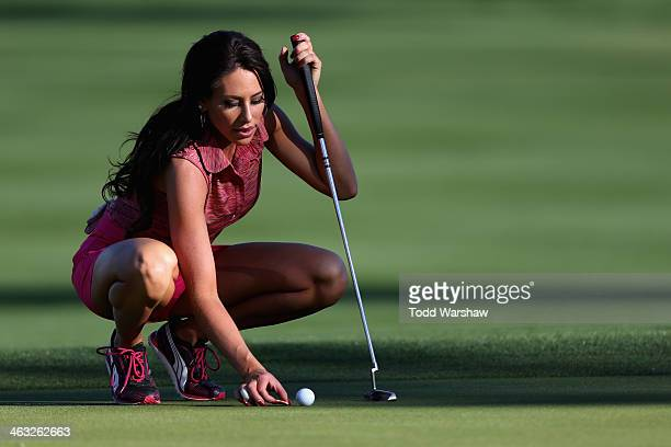 Holly Sonders lines up a putt at the ninth hole of La Quinta Country Club Course during the first round of the Humana Challenge in partnership with...