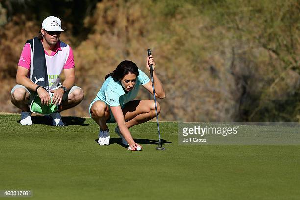Holly Sonders lines up a putt on the sixth hole of the Jack Nicklaus Private Course at PGA West during the second round of the Humana Challenge in...