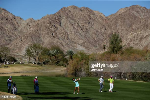 Holly Sonders plays her second shot on the sixth fareway of the Jack Nicklaus Private Course at PGA West during the second round of the Humana...