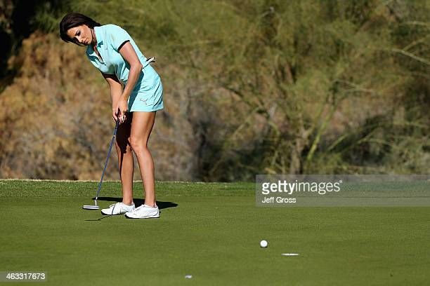 Holly Sonders putts at the sixth hole of the Jack Nicklaus Private Course at PGA West during the second round of the Humana Challenge in partnership...