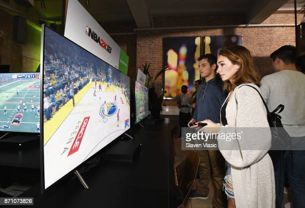 Holly Taylor attends as Liam Payne Chloe Grace Moretz Brooklyn Beckham and Caleb McLaughlin Host Xbox One x VIP Event Xbox Live Session on November 6...