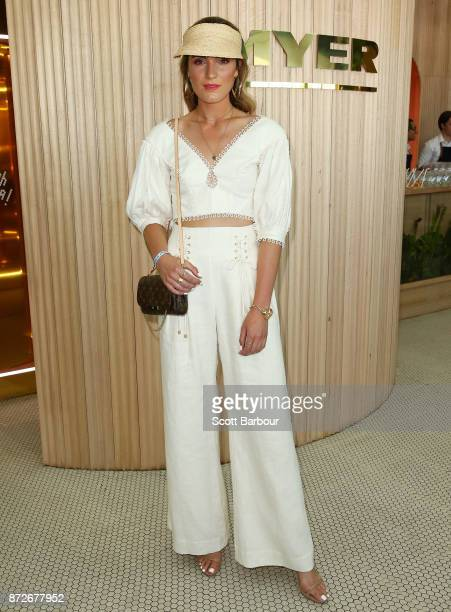 Holly Titheridge poses at the Myer Marquee on Stakes Day at Flemington Racecourse on November 11 2017 in Melbourne Australia