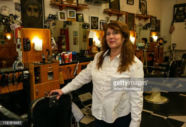 Holly Upton the owner of the Head Husky barbershop stands for a photograph in Storrs Connecticut on February 23 2019 Ms Upton started working in the...
