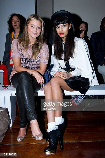 Holly Valance and Jameela Jamil attend the Zoe Jordan show at London Fashion Week Autumn/Winter 2012 at Somerset House on February 17 2012 in London...