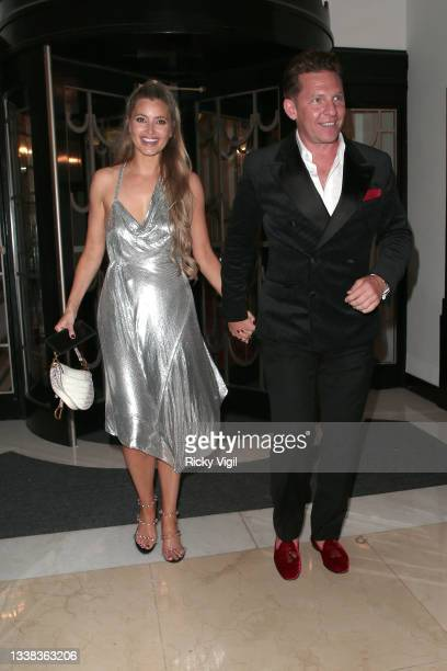 Holly Valance and Nick Candy are seen attending David Walliams' 50th Birthday party at Claridge's hotel in Mayfair on September 04, 2021 in London,...