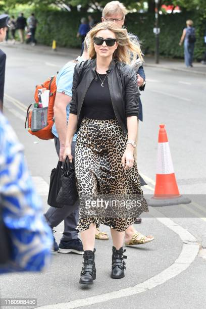 Holly Valance attends day 8 of the Wimbledon 2019 Tennis Championships at All England Lawn Tennis and Croquet Club on July 09, 2019 in London,...