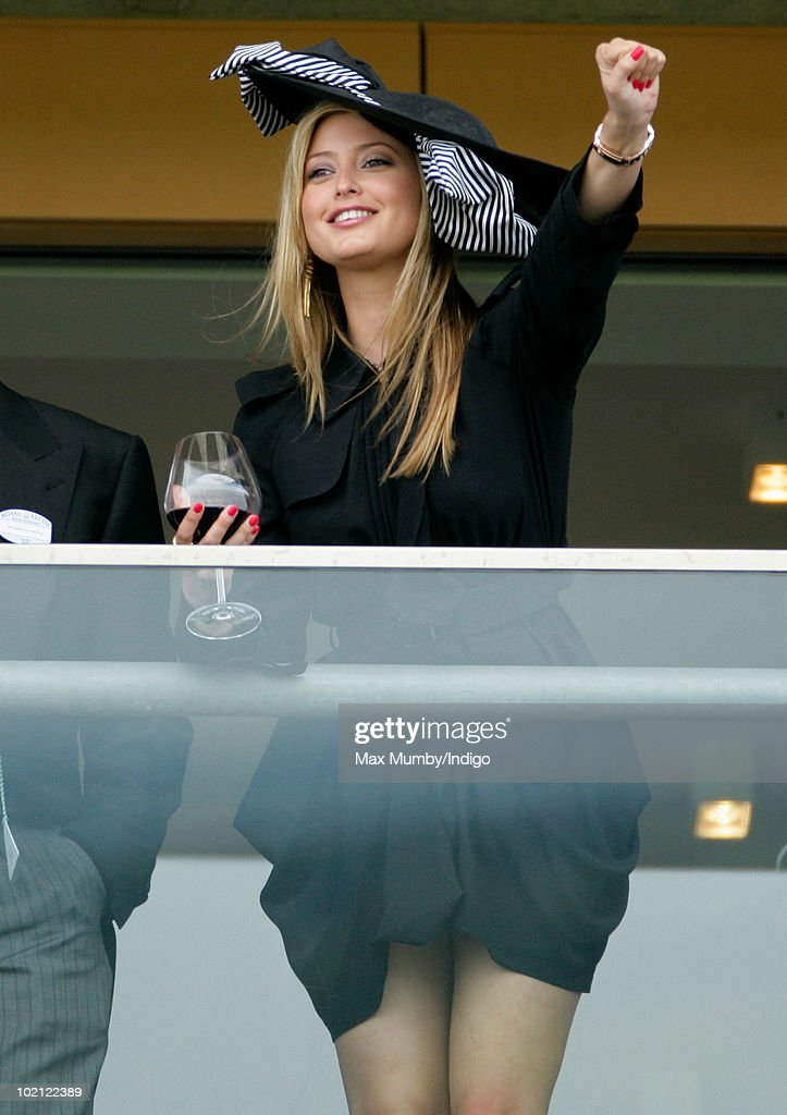 Holly Valance watches the horse racing from the balcony of her box on day one of Royal Ascot at Ascot Racecourse on June 15, 2010 in Ascot, England.