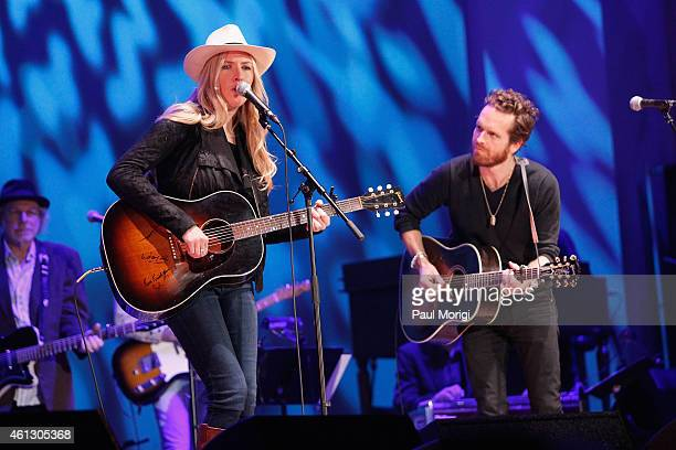 Holly Williams and Chris Coleman perform on stage during The Life Songs of Emmylou Harris An All Star Concert Celebration at DAR Constitution Hall on...