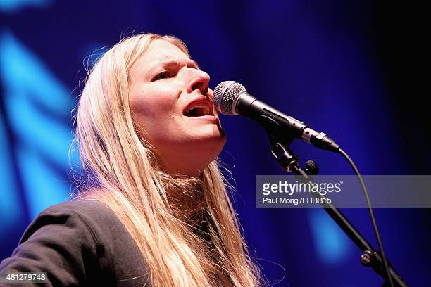 Holly Williams rehearses on stage for The Life Songs of Emmylou Harris An All Star Concert Celebration at DAR Constitution Hall on January 10 2015 in...