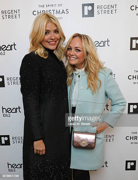 Holly Willoughby and Emma Bunton attend the Regent Street Christmas Lights switch on event with Heart at Regent Street on November 17, 2016 in...