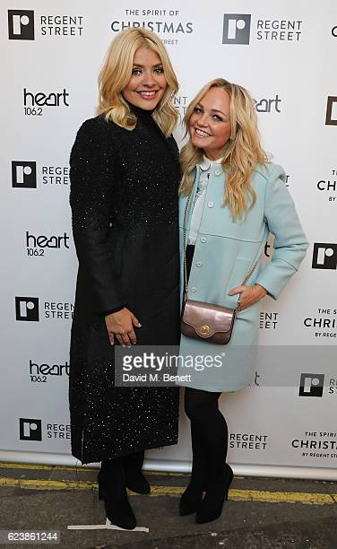 Holly Willoughby and Emma Bunton attend the Regent Street Christmas Lights switch on event with Heart at Regent Street on November 17 2016 in London...