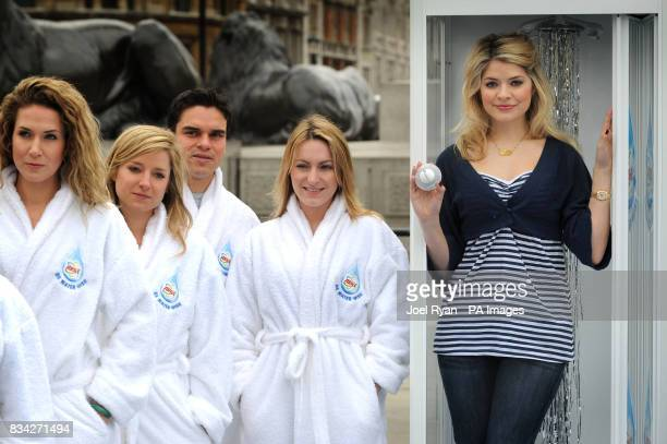 Holly Willoughby and models in dressing gowns call on the nation to take the Ariel 3 Minute Shower Challenge for World Water Day on Saturday 22 March...