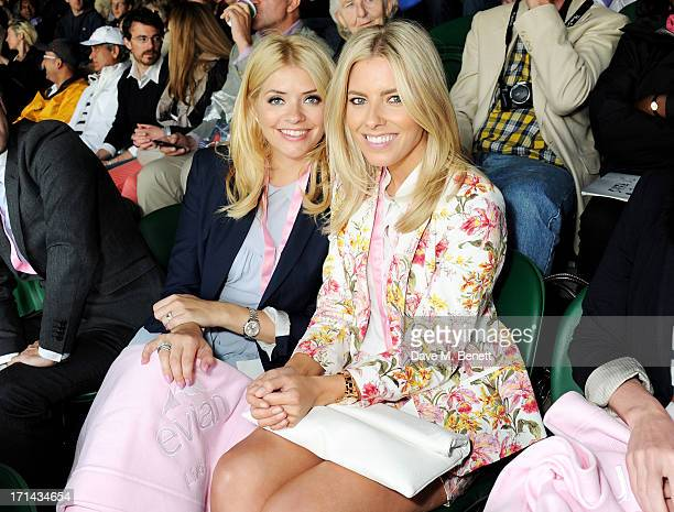 Holly Willoughby and Mollie King attend the evian 'Live Young' Suite at Wimbledon on June 24 2013 in London England