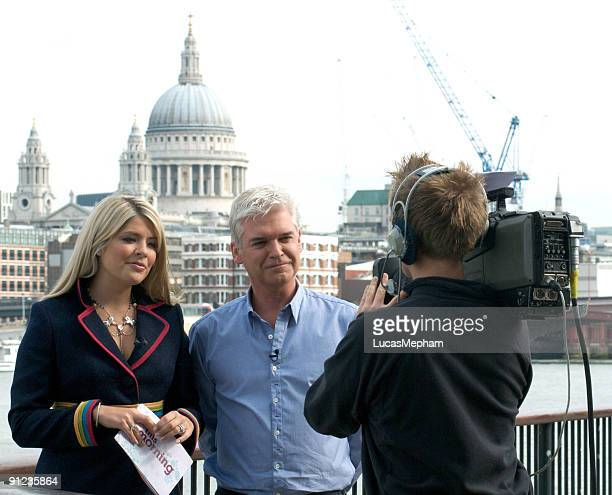 Holly Willoughby and Phillip Schofield are seen presenting 'This Morning' on September 29 2009 in London England