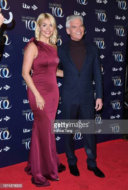 Holly Willoughby and Phillip Schofield attend a photocall for the new series of Dancing On Ice at Natural History Museum Ice Rink on December 18 2018...