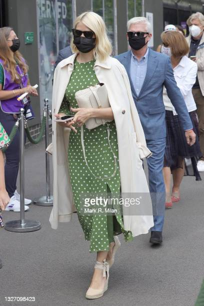 Holly Willoughby and Phillip Schofield attend Wimbledon Championships Tennis Tournament at All England Lawn Tennis and Croquet Club on July 05, 2021...