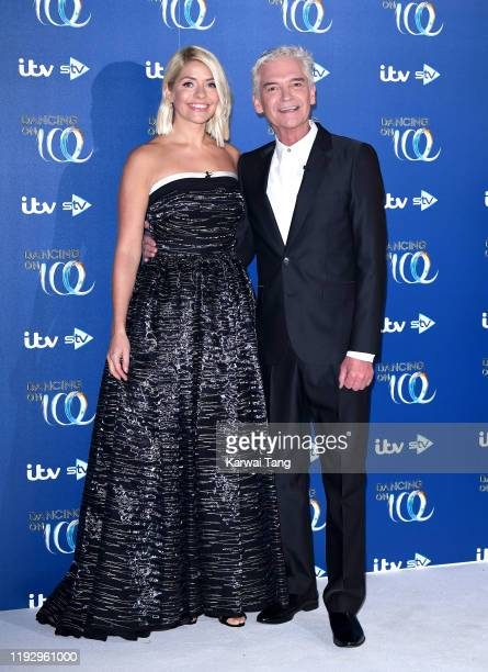 Holly Willoughby and Phillip Schofield during the Dancing On Ice 2019 photocall at the Dancing On Ice Studio ITV Studios Old Bovingdon Airfield on...