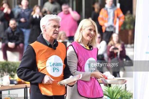 Holly Willoughby and Phillip Schofield filming the This Morning showon March 05 2019 in London England