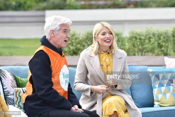 Holly Willoughby and Phillip Schofield filming the This Morning show on March 05 2019 in London England